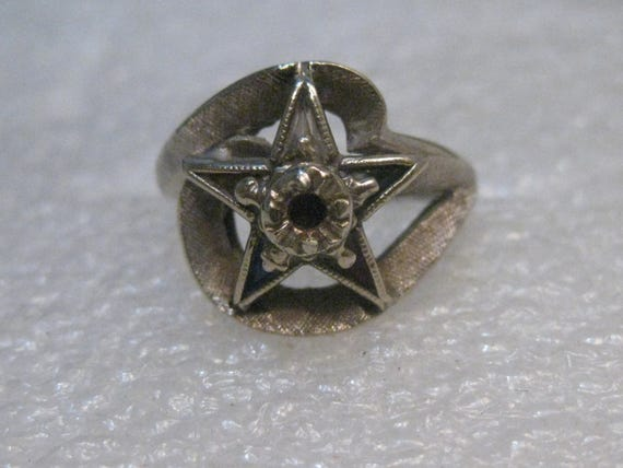 10kt Gold Order of the Eastern Star/Masonic Ring, size 5, with stones, signed SA, 1960-1970's. OES