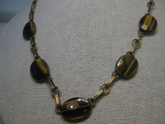 "Vintage Symmetalic Vermeil Tiger's Eye Necklace/Choker, Sterling 1/20th 14kt, 15"" with 3"" ext."
