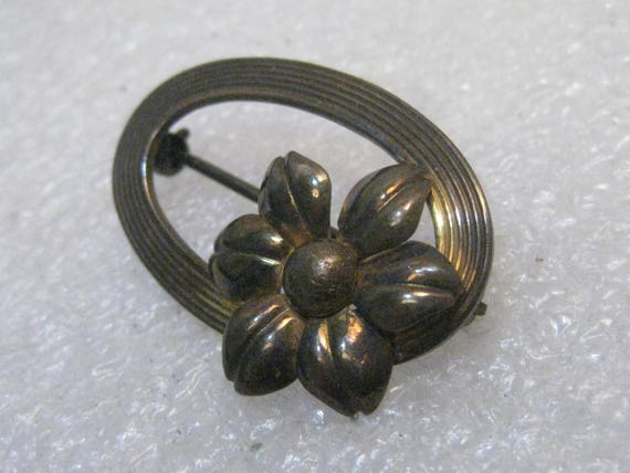 Vintage Symmetalic Sterling +14k Brooch, Oval with Floral Accent
