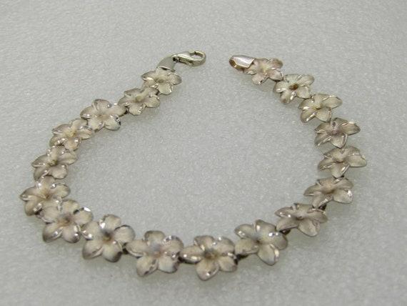 """Vintage Sterling  Floral Linked Bracelet, 10mm, 8"""", Signed AK"""