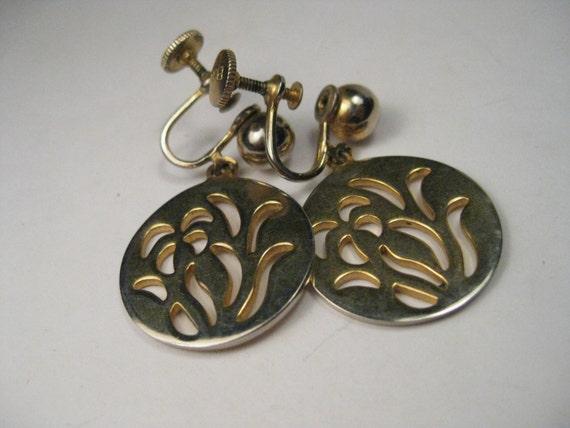 Vintage Gold Tone Orchid or Iris Dangle Screw Back Earrings, B.N., Bugbee & Niles,
