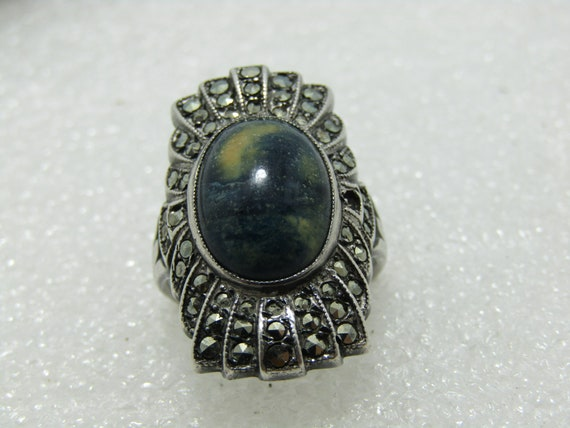 Vintage Sterling  Uncas Marcasite Ring, Blue/Green/Yellow Agate, Size 4.5, 5.78 Grams, 1960's
