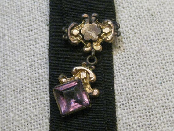 "Victorian Black Ribbon Watch Fob With Purple Stone 6"", 3/4"" wide"