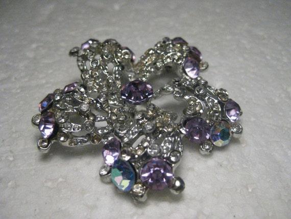 "Vintage Lavender & Clear Rhinestone Spiral Brooch, 1960's, 2.25"""