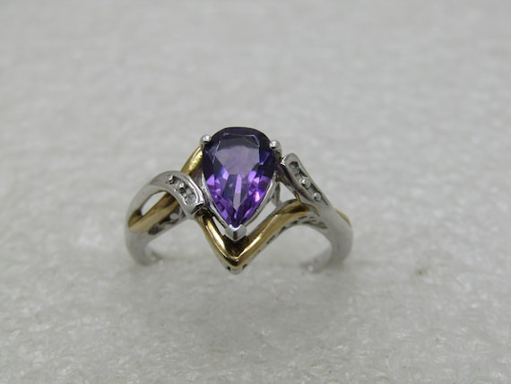 Sterling and 10kt Lab Amethyst & Diamond Ring, Sz. 675. Pear-Shaped Stone