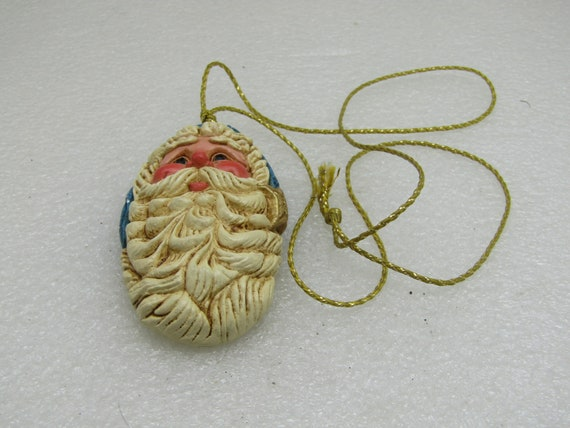 Vintage Father Christmas Pennsylvania Guild of Craftsmen Necklace/Ornament, Gold Cord, Juried Member