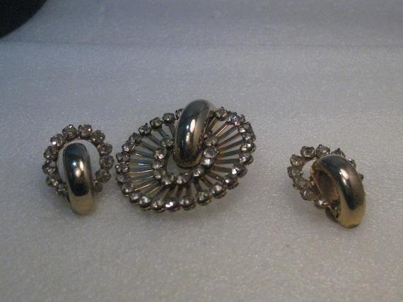 Vintage Art Deco Demi Parure, Rhinestones, Brooch & Clip Earrings, 1940's-1950's