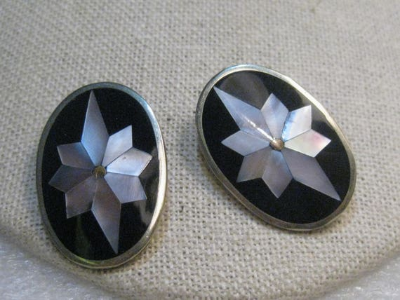 Vintage Mexico Inlaid Pierced Earrings, 1960's, Alpaca, Mother-of-Pearl, 1.25""