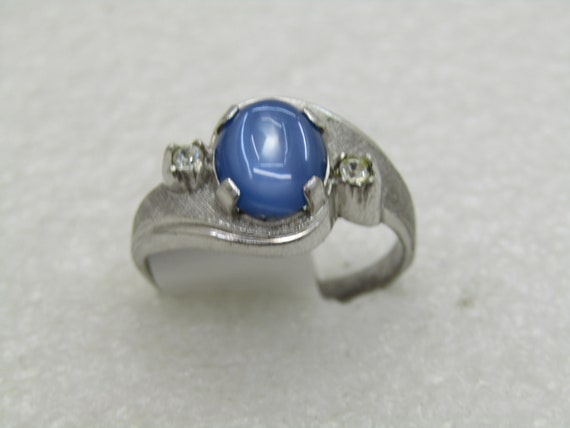 Vintage Sterling Faux Blue Moonstone Men's Ring, Sz. 10.5