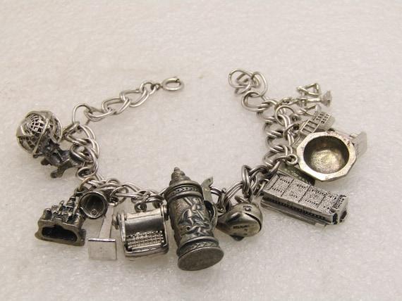 """Vintage Sterling Silver Charm Bracelet, 13 charms, 7"""", 45.05 gr., 1950's-1970's"""