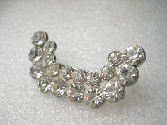 Vintage Silver Tone 1940's Rhinestone Brooch - Crescent, Curved, Double Row, Cast Metal - 1.75""