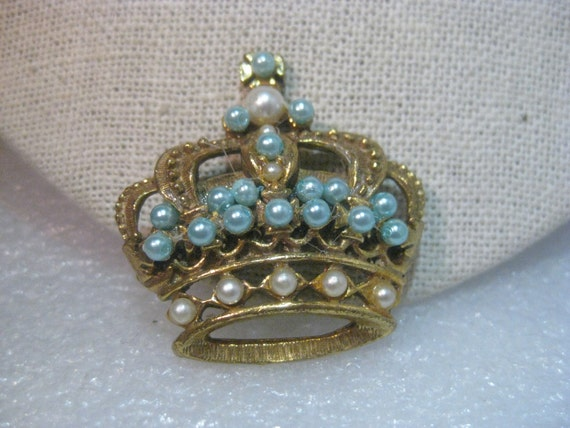 Vintage  Gold Tone Crown Brooch, Blue & White Faux Pearls, 1960's