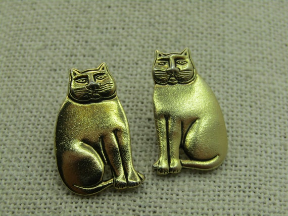 Vintage Laurel Burch Sitting Cat Earrings, Pierced, Gold Tone Studs, 7/8""