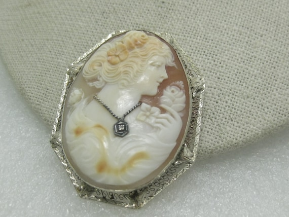 "Vintage Art Deco Diamond Cameo Brooch/Pendant, 1920's-1930's, 2"", 14.07 grams"