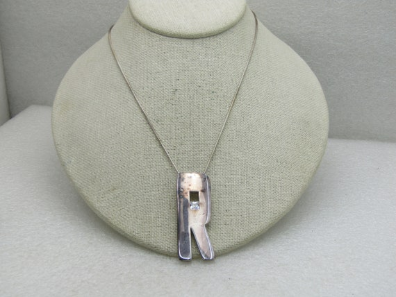 "Sterling Silver Initial R Necklace with CZ, 18"" Snake Chain, Signed."