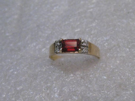 Vintage 14kt Tourmaline & Diamond Ring, size 7, 2.38 grams, Emerald Cut.