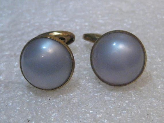 Vintage Blue Moonglow Cuff Links, 1940's/1950's Round - Unisex