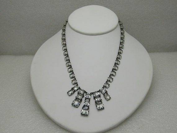 Vintage Sterling Silver Square Crystal Drop Necklace, Choker, Mid-Century, 15""