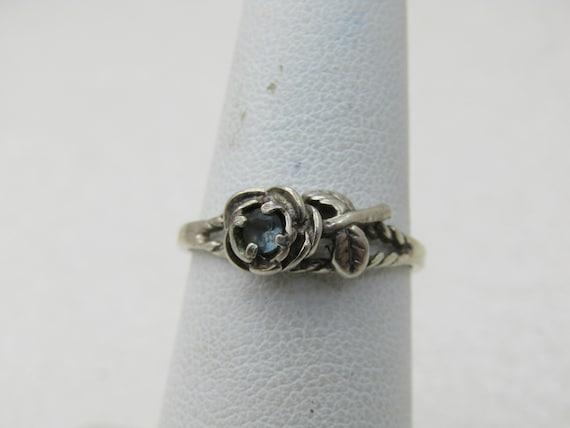 Vintage Sterling Silver Topaz Rose Ring, Sz. 7, Signed