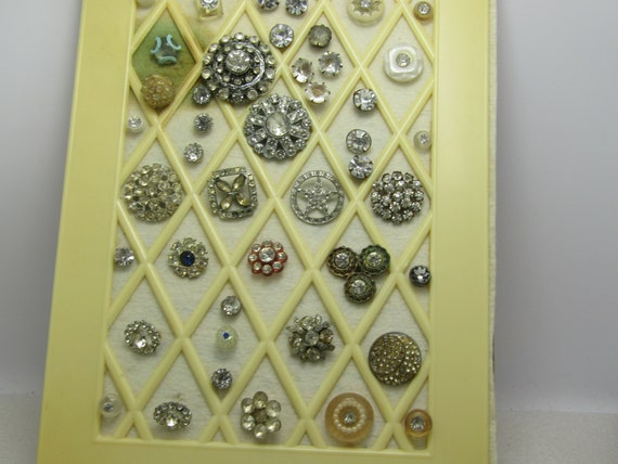 Victorian To Art Deco Rhinestone Button Lot, 44 Buttons, Mixed Shapes and Sizes, Star, Tiered, Round Sets