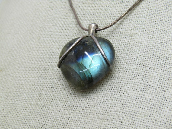 "Vintage Sterling Heart Labradorite Necklace, 18"" Snake Chain 2mm wide, 1980's, 14.95 gr."