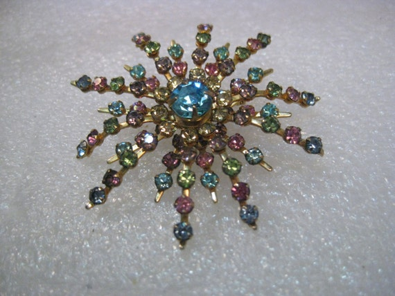 Vintage Pastel Rhinestone Snowflake/Floral Blossom Brooch, Layered and Domed, 1940's, 2""