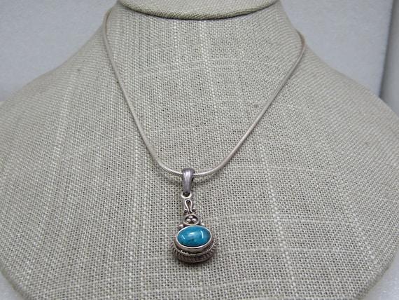 "Vintage Sterling Southwestern Turquoise Boho Necklace, 18"" Snake chain"