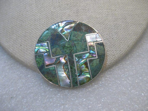 Sterling Abalone Turquoise Inlaid Brooch Pendant, Taxco, Mexico, signed GRC, 1.75""