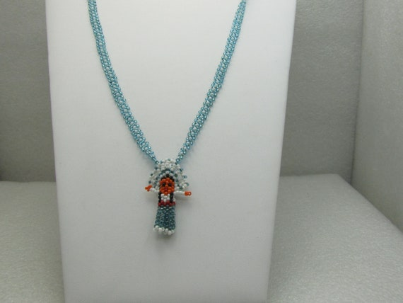 Southwestern/Native American Seed Beaded Necklace, Chief Pendant, 22""