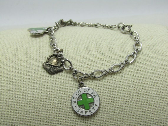 """Vintage Sterling Sterling Charm Bracelet, Bell of PA Charms, 14.52gr., 7.25"""" 4 Charms"""