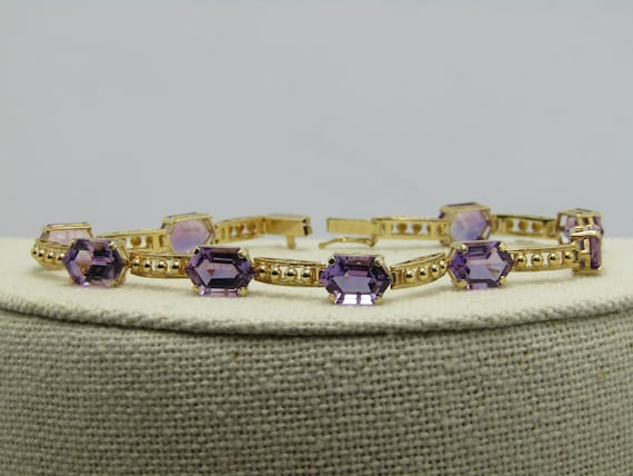 "14kt Amethyst Tennis Bracelet, 7.5"", 8.25gr., 9 Pointed Stones, 10+ TCW, Mexico WB274"