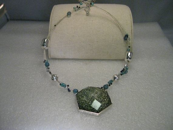 "Vintage Silver Tone Multi-Strand Necklace, Shades of Green/Blue, 18"" plus ext. chain, 925 clasp"