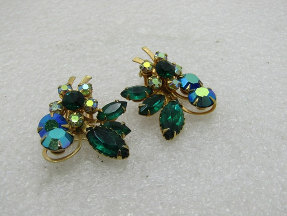 """Vintage BeauJewels Rhinestone Clip Earrings, 1950's-1960's, Aurora Borealis Clear & Teal, Green Marquise, 1.5"""""""