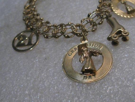 """Vintage 14kt Gold Charm Bracelet, Triple Fancy Link, 7"""", 4 Charms, 1/2"""" Wide, 22.82 gr"""