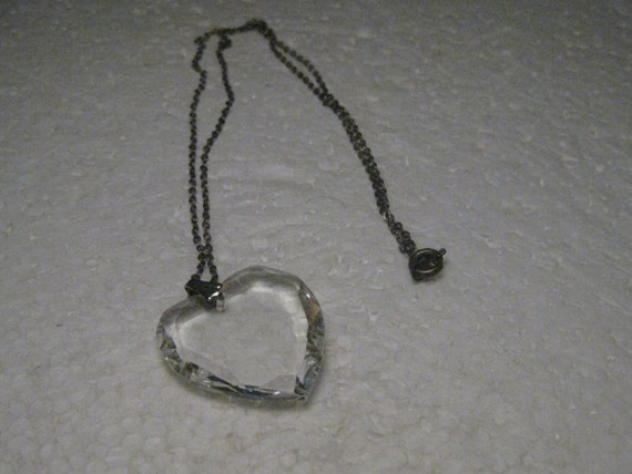 "Vintage Crystal Heart Necklace, 18"" chain, Silver Tone,"
