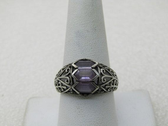 Vintage Sterling Amethyst Scrolled Ring, Sz. 10.5,  Unisex, 4.98gr.