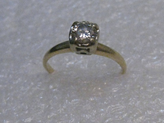 Vintage 14kt Gold Diamond Engagement Ring, over .40 ctw, sz. 5.5, signed Baumf, 1.74 grams (Baumstein & Feder)