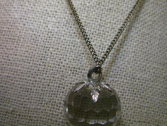"Vintage 10kt White Gold Capped Crystal Strawberry 1"" Pendant"