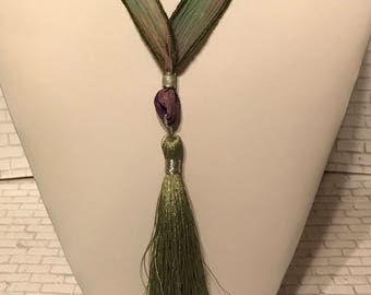 Sage & Lilac Ribbon with Sage Silk Tassel