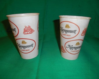 Two (2), Narragansett Lager Beer, Waxed Paper Cups, Circa 1960's.