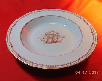 "One (1), 8 1/4"""", Rimmed Soup Bowl, from Copeland-Spode, in the Trade Winds Red (gold trim) Pattern."