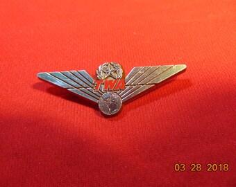 One (1), Vintage, TWA, Plastic, Junior Pilot Wings.
