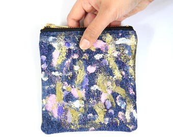 Gold smoke square purse / Small zip pouch
