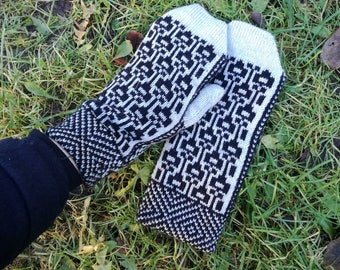 Knitted mittens, winter mittens, knit fair isle gloves, winter accessory, knit mittens for women