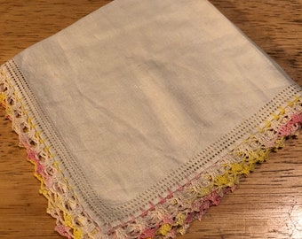 White Linen Hankie with Pastel Pink and Yellow Crocheted Edges