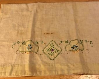 Linen Embroidered Tea Towel