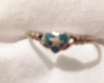 Silver Heart Pinky Ring