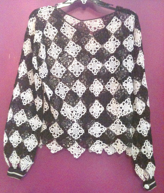 Antique Hand Crocheted Formal Blouse - image 1