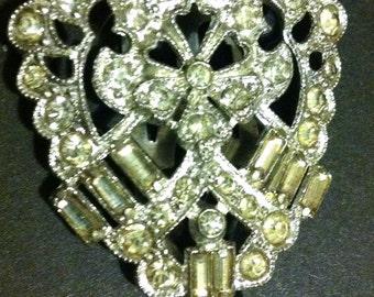 Silver and rhinestone sweater clip