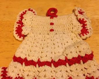 Hand Crocheted Dress Pot Holder